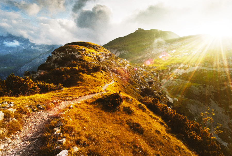This is a sunny mountain trail...